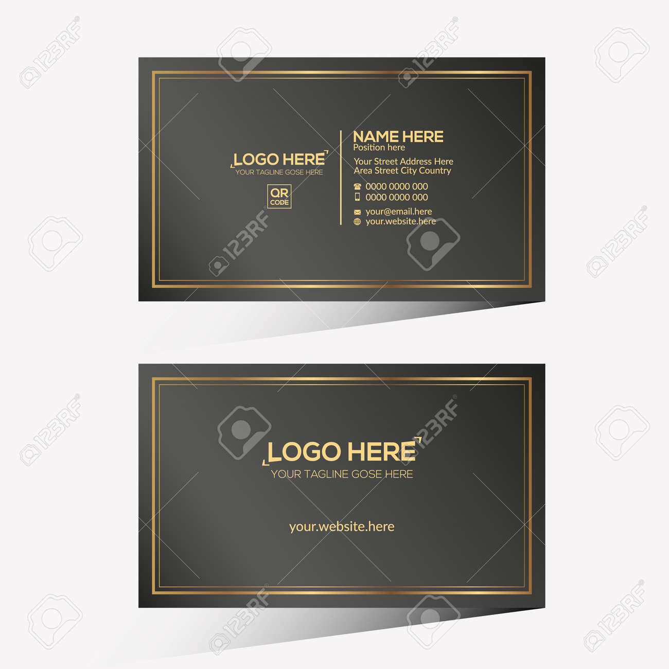 golden and black colored vector business card design for any company use - 172189322