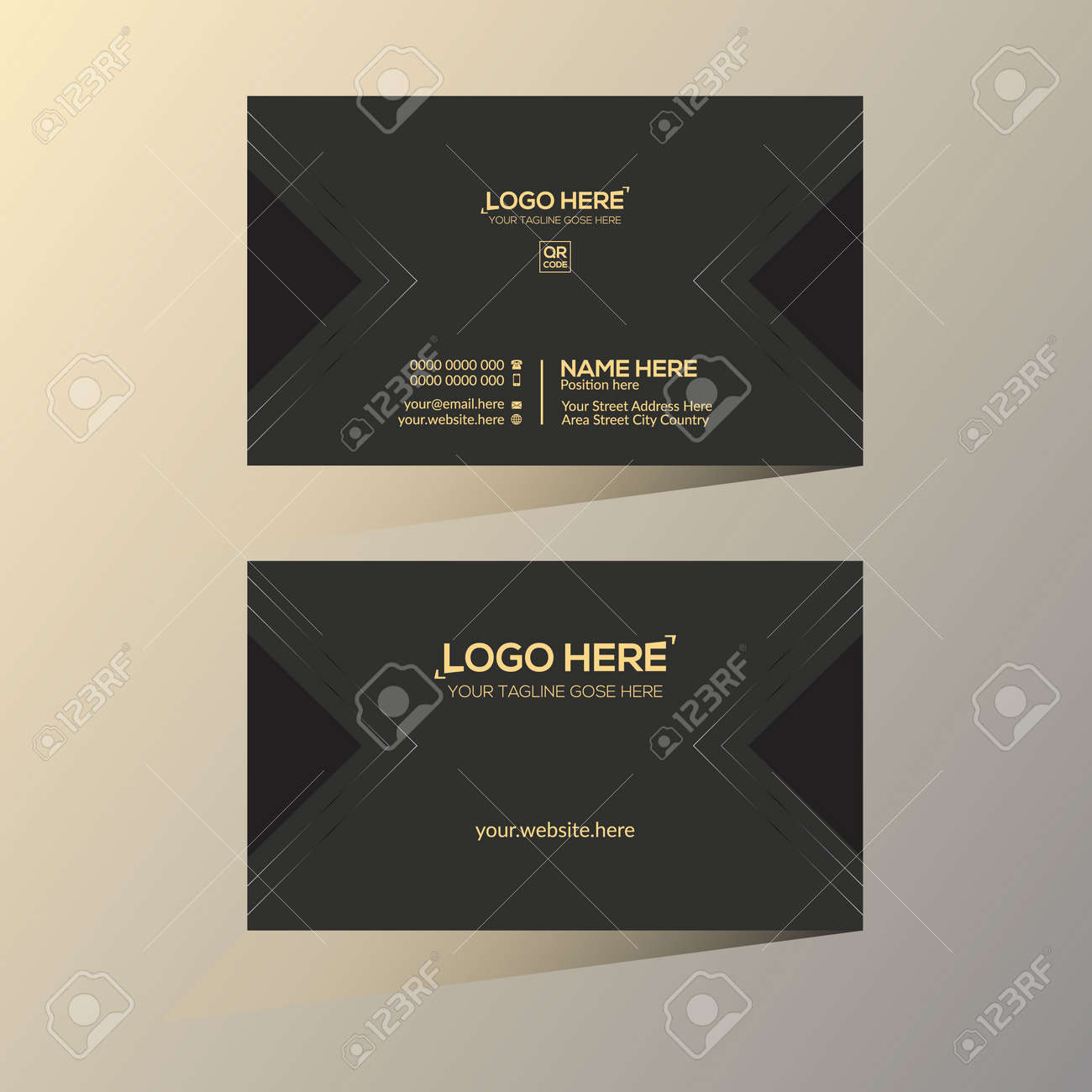 golden and black colored vector business card design for any company use - 172188523