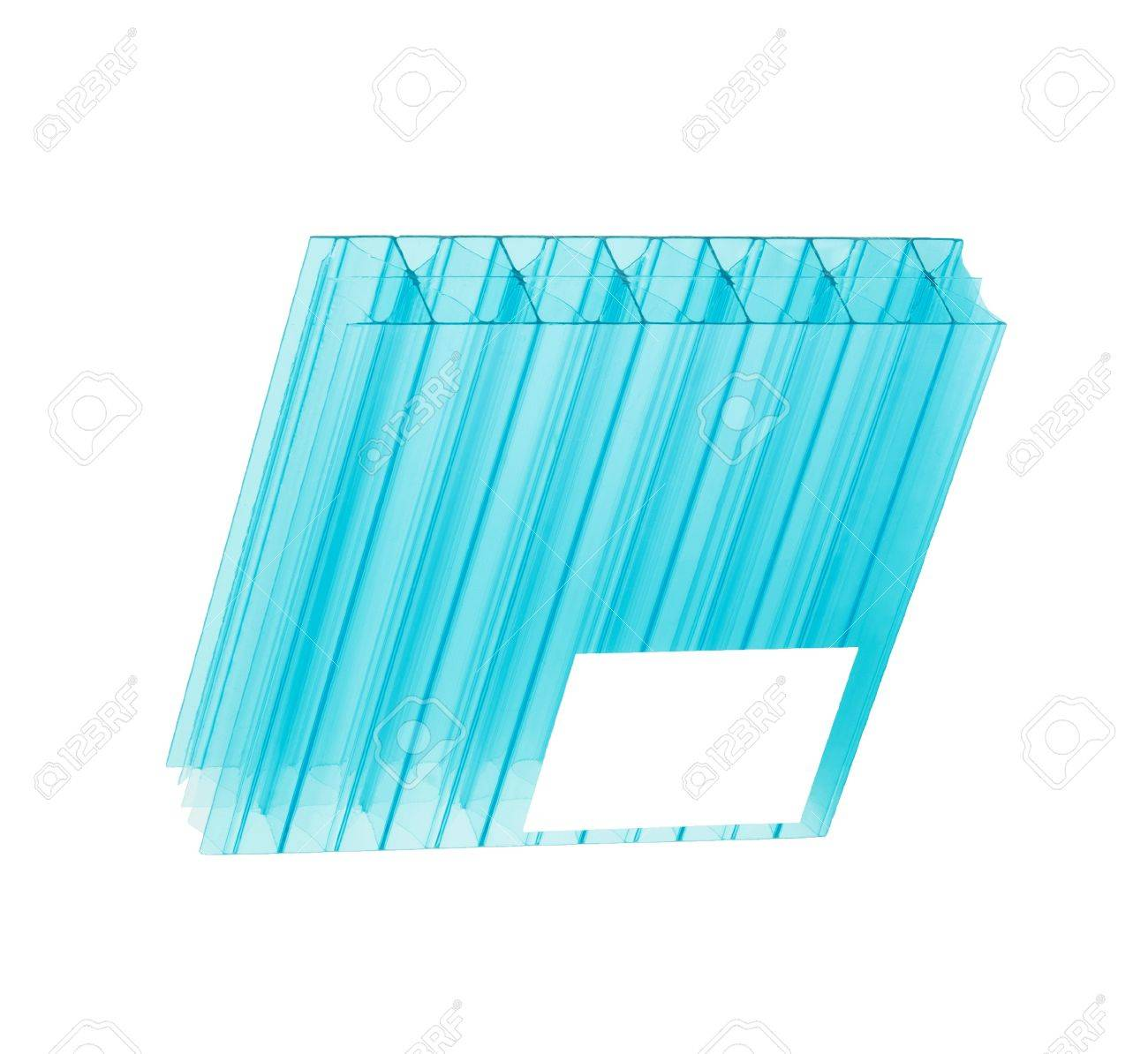 Blue Color Polycarbonate Sheet Isolated On White Background Stock ...