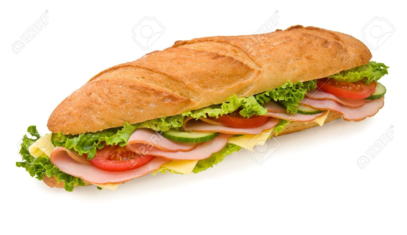 Foot-long submarine sandwich with ham, swiss cheese, lettuce, tomatoes and cucumbers. Top view, isolated on white Stock Photo - 3024413