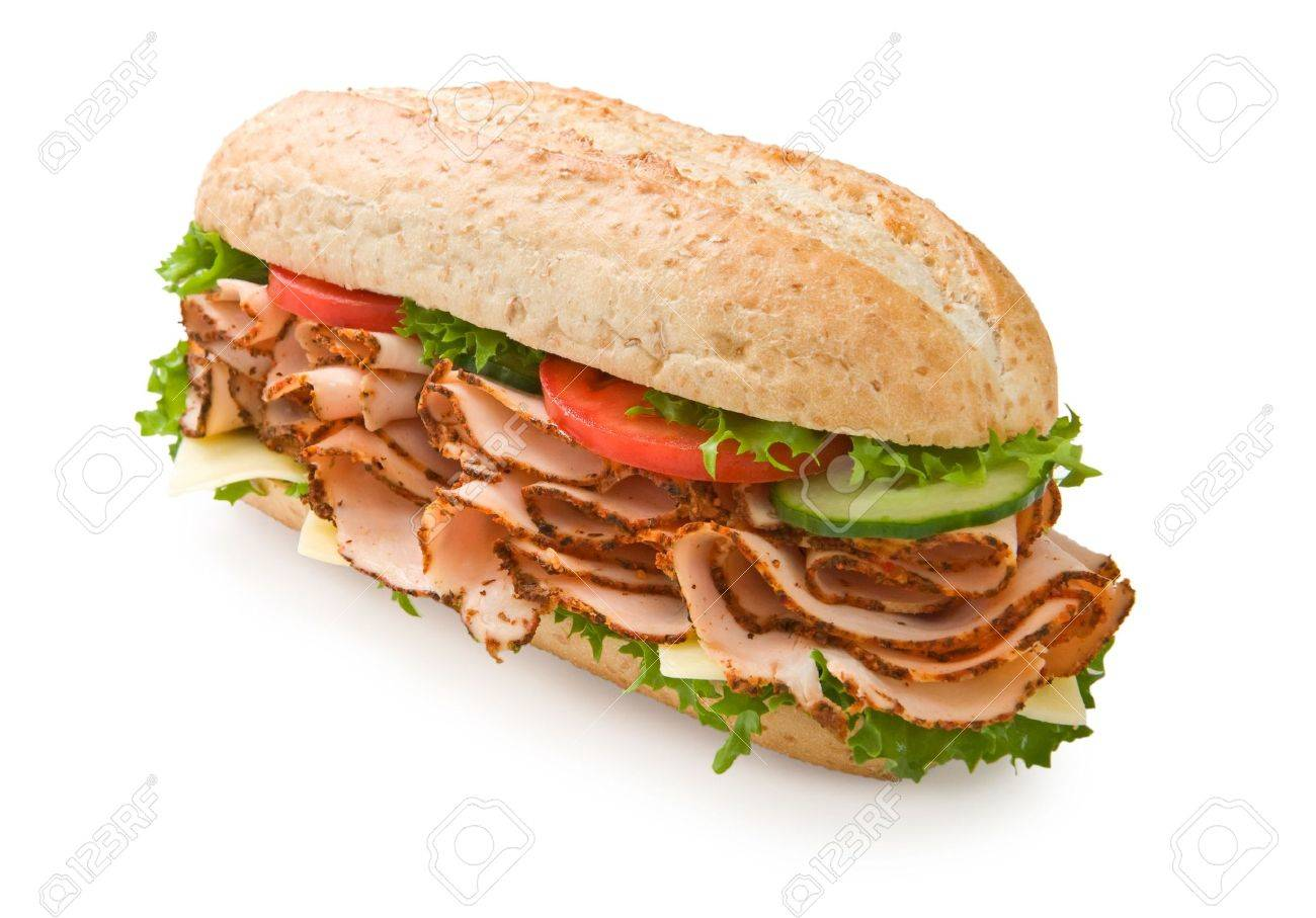 Large multi-grain turkey submarine sandwich with lettuce, tomatoes and cheese Stock Photo - 3129894