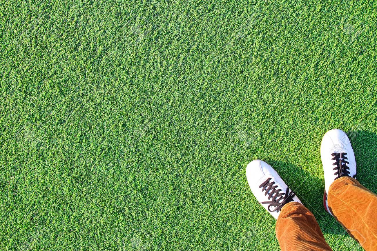 Artificial grass and Leg - 99909874