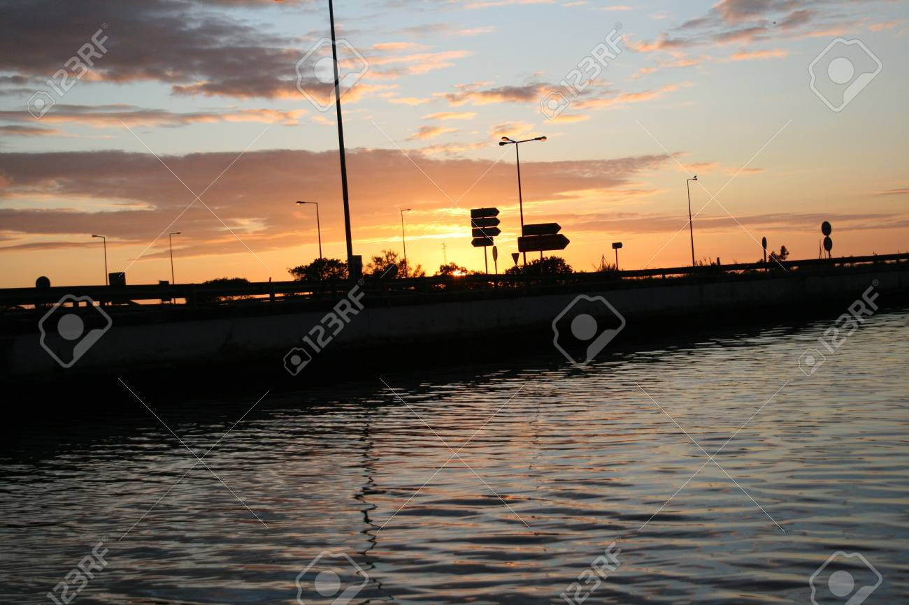 sunset on the river Stock Photo - 13174475