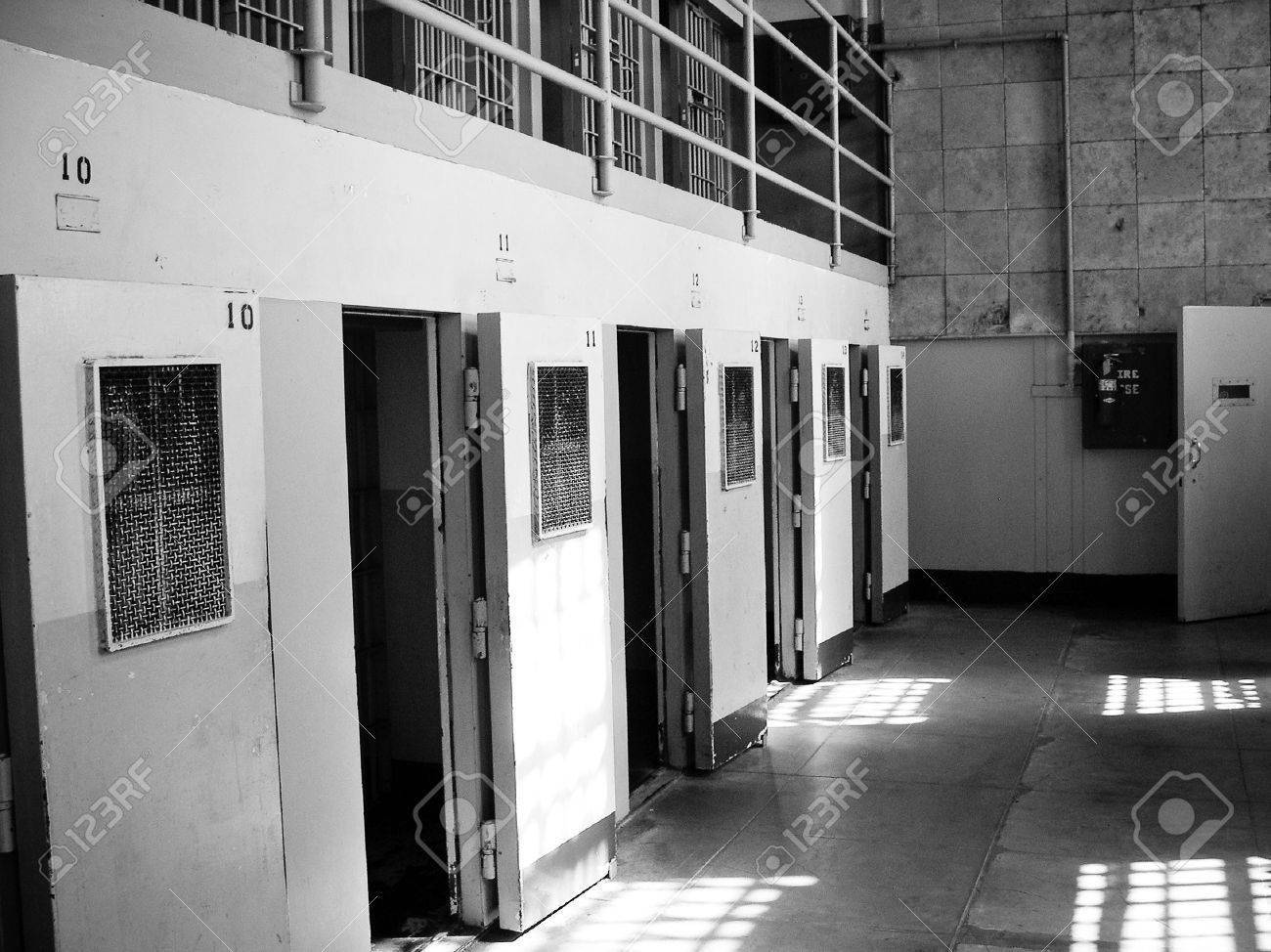 Alcatraz prison cells with open doors - 5095344