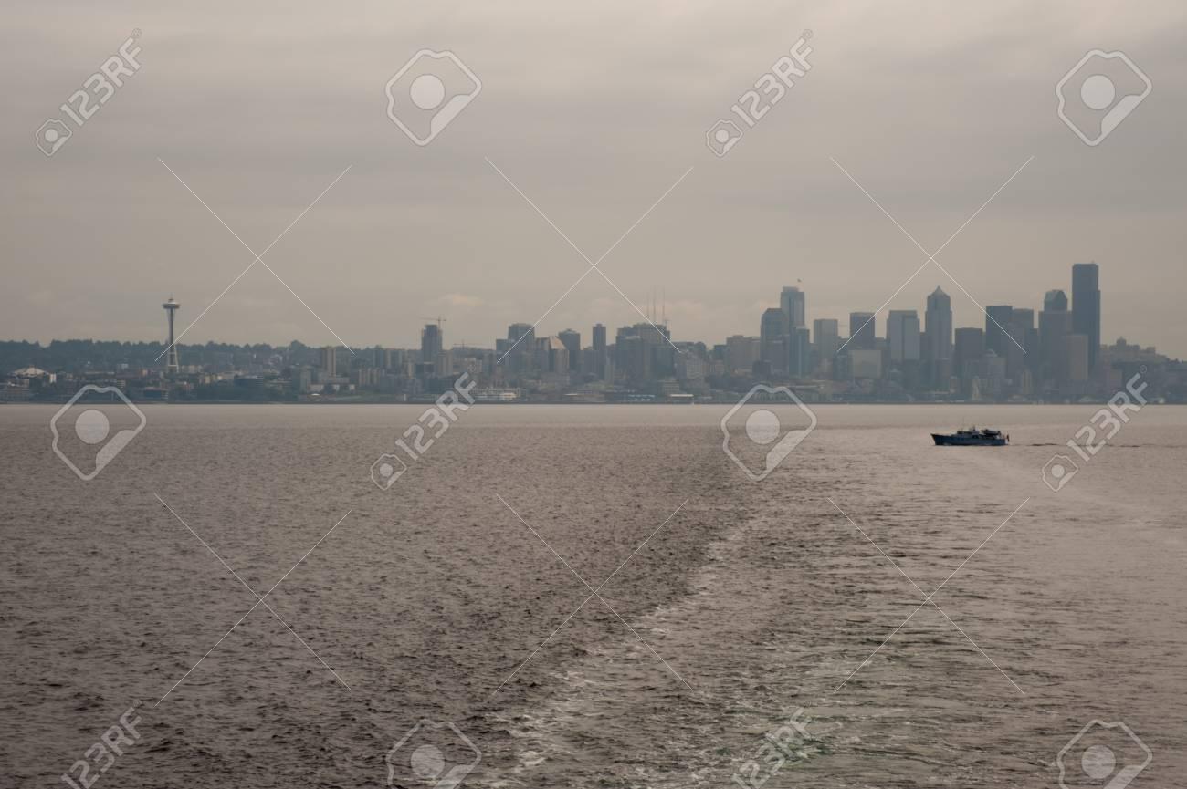 Downtown Seattle skyline seen from ferry - 93386841