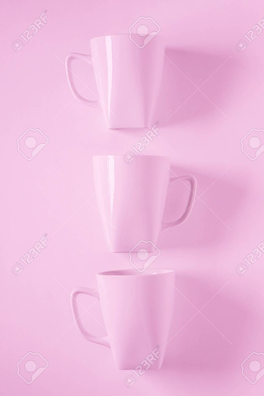3 Monochromatic Pink Coffee Mugs Lined Up In A Row On Pink Background Stock Photo Picture And Royalty Free Image Image 126583800