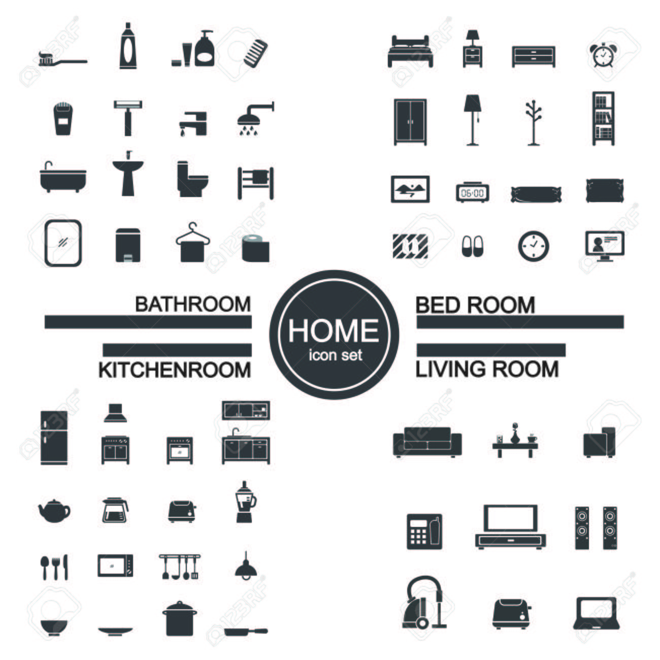 living room , bedroom , kitchen, bathroom icon set royalty free