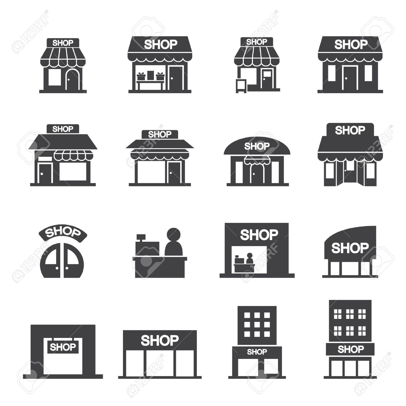 shop building icon set - 33447345