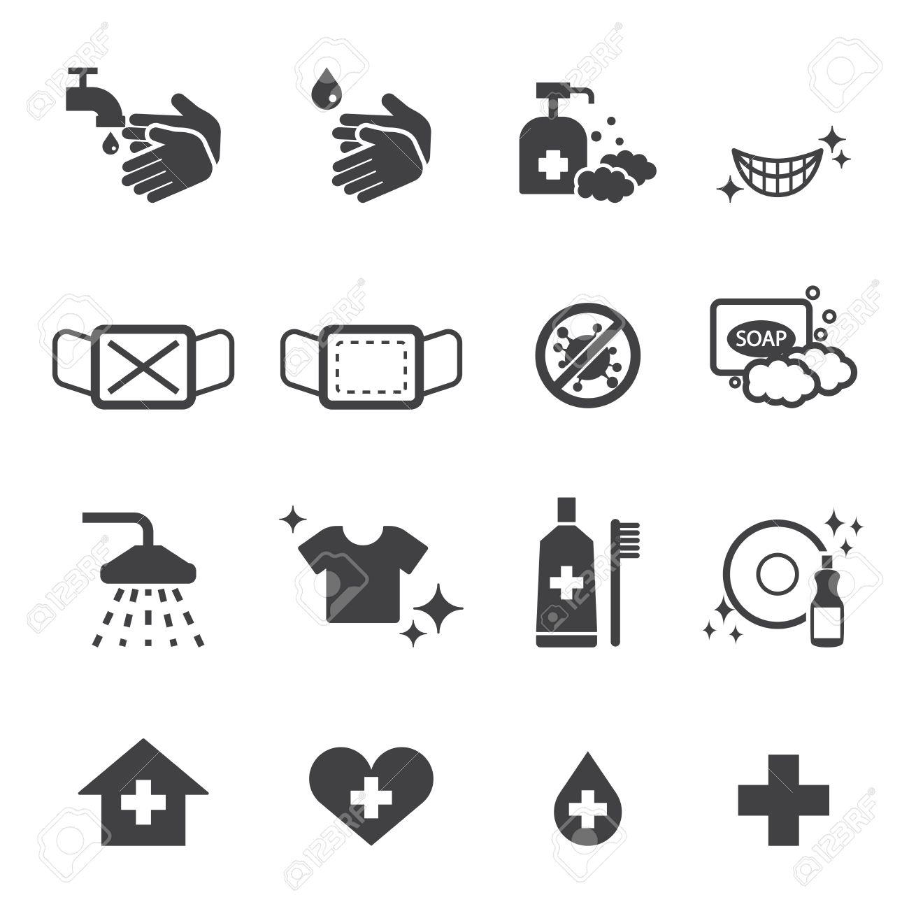 hygiene icons set - 38999318