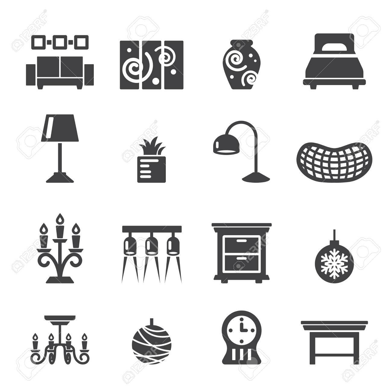 Home Decoration Icons Stock Vector   41222814