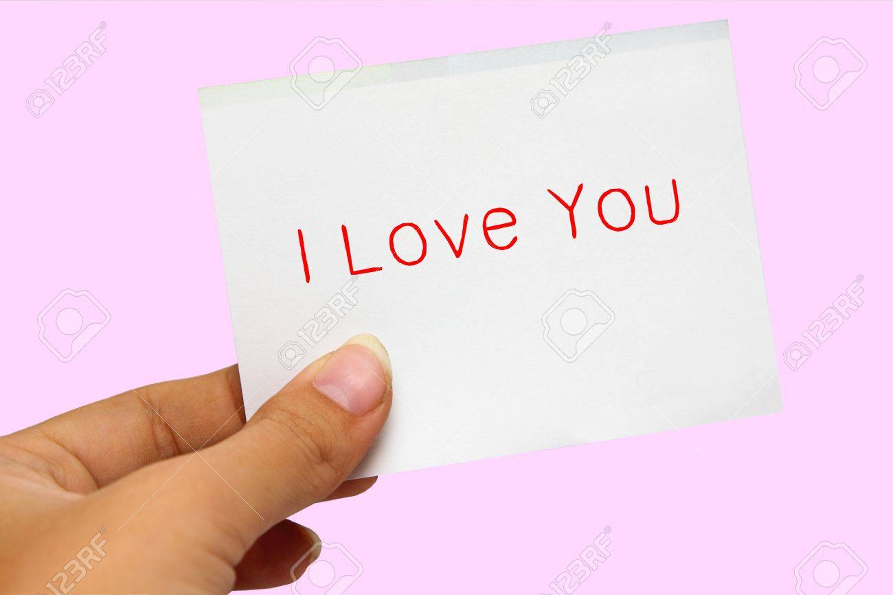 Hand showing a I love you card Stock Photo - 11889790