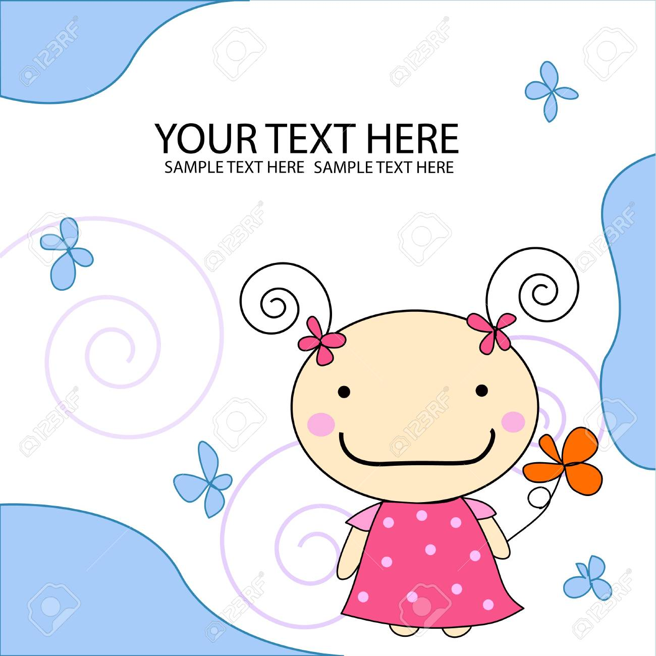 Little cute girl holding flower Stock Photo - 13895608