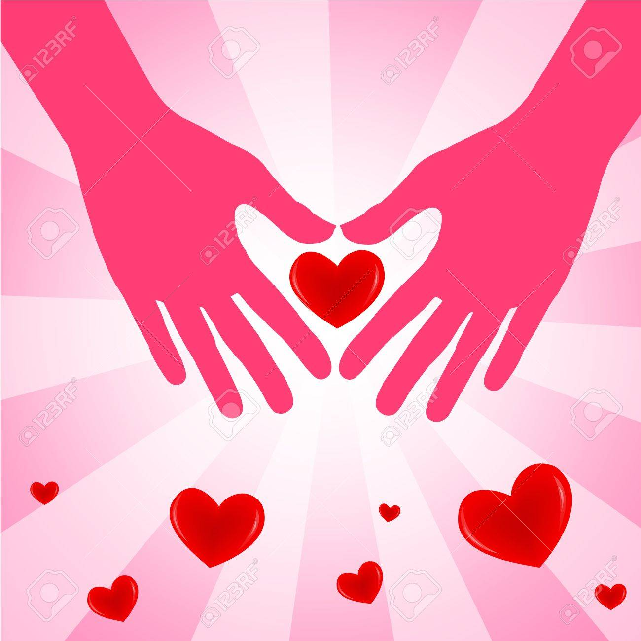 Hand with love heart on pink background  Vector illustration Stock Vector - 14996233