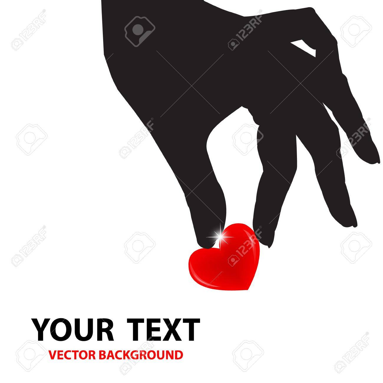 Silhouette hand holding the red heart on white background  Love valentine  Vector illustrator Stock Vector - 14996218