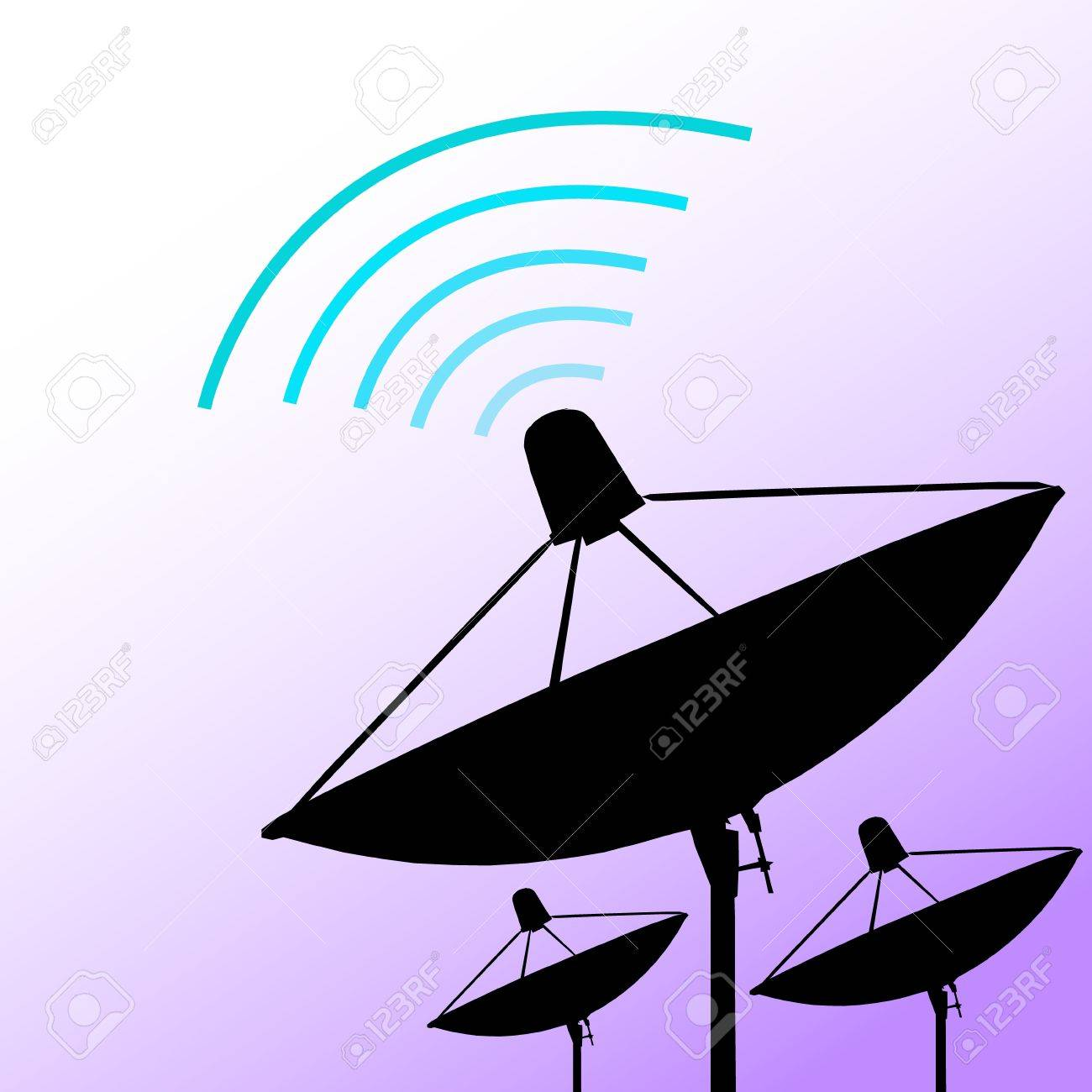 Silhouette satellite on purple background  Communication and technology  Vector illustration Stock Vector - 14996210