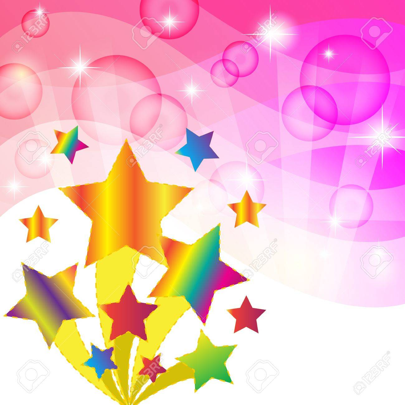 Colorful star and pink abstract background  Vector illustration Stock Vector - 14996237