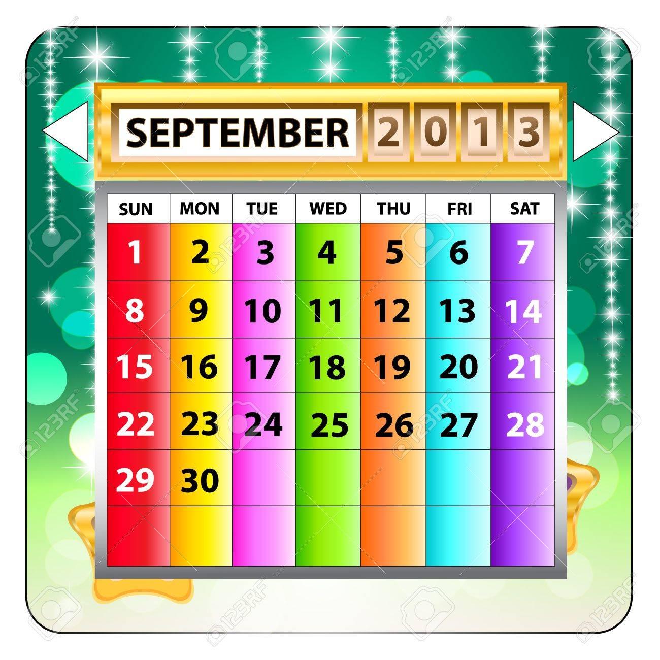 September 2013 calendar  Happy new year Stock Vector - 15143289