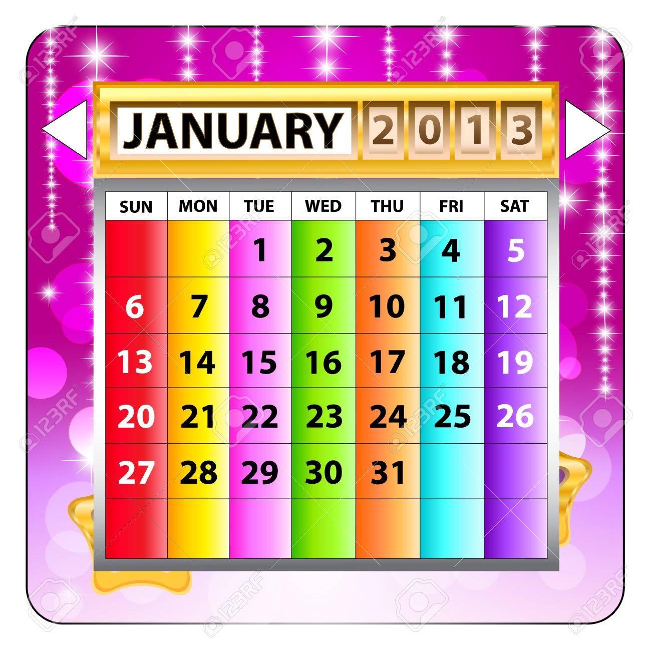 January 2013 calendar  Happy new year Stock Vector - 15143216