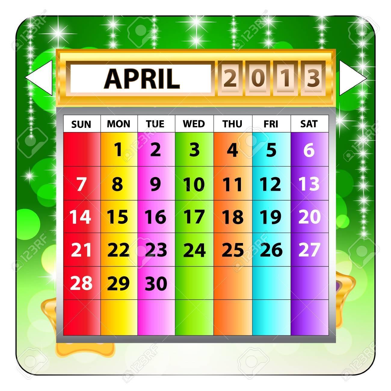 April 2013 calendar  Happy new year Stock Vector - 15143287