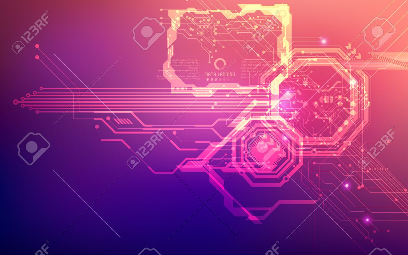 futuristic backdrop; abstract circuit background; blue pink digital technology - 65131288