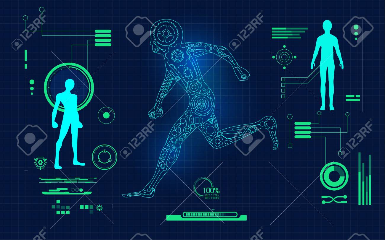 Abstract technological health care science blue print running abstract technological health care science blue print running robot on scientific interface digital malvernweather Choice Image