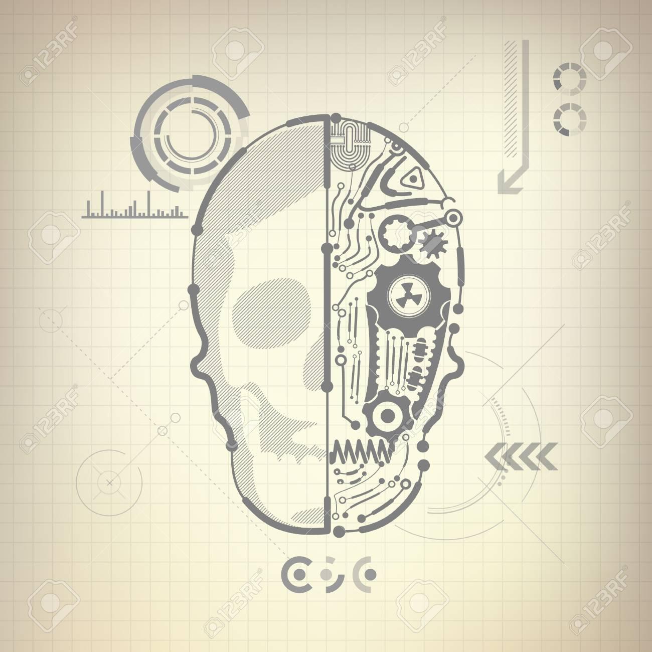 Concepto De Anteproyecto De Invención De AI, Diagrama De Cerebro Y ...
