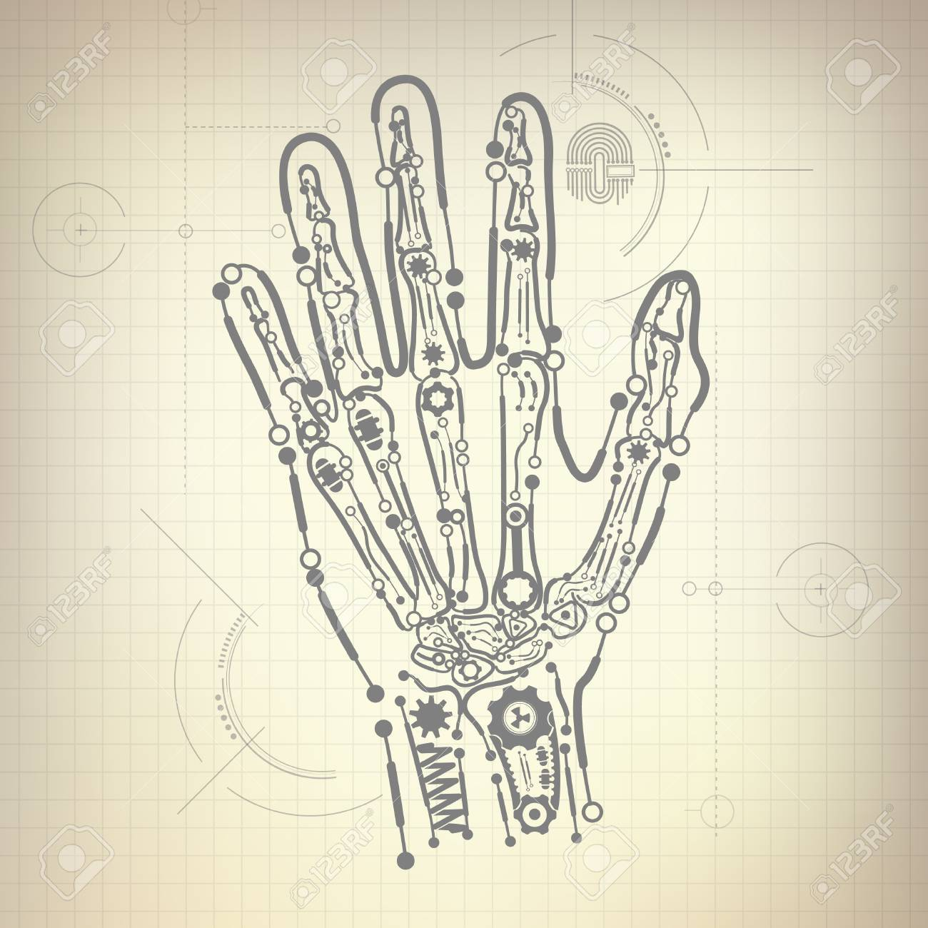 concept of blueprint of a i invention, robot hand and bone diagram