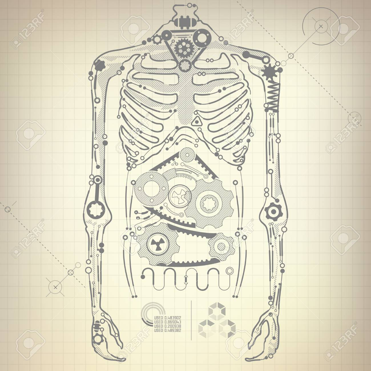 Concept of blueprint of ai invention robot body diagram royalty concept of blueprint of ai invention robot body diagram stock vector 81713129 malvernweather Image collections