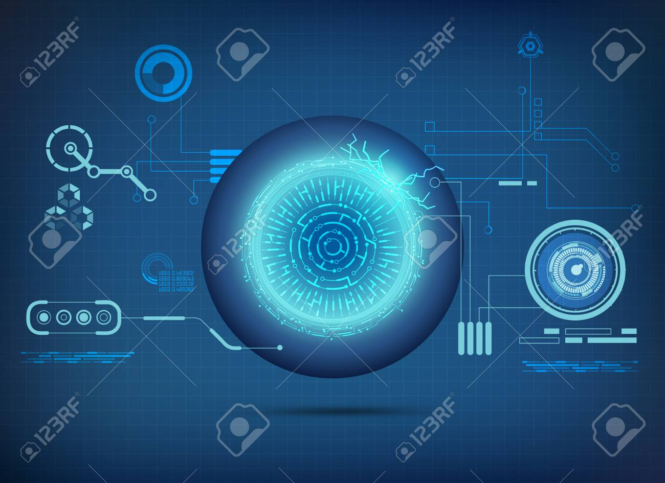 Abstract technological health care science interface of abstract technological health care science interface of electronic eye analysis digital blueprint of robot malvernweather Images