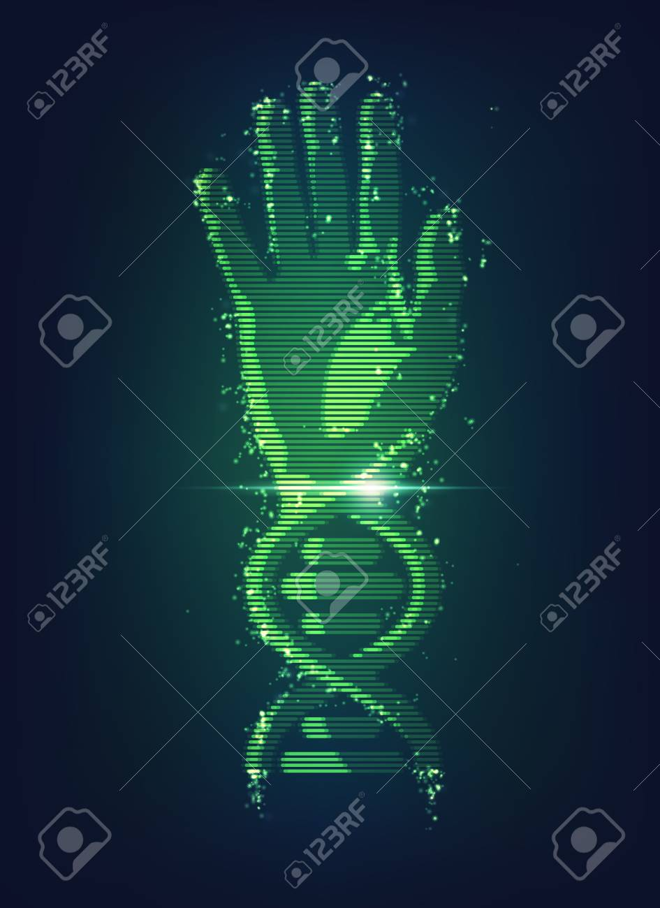 Concept of biometric technology hand combined with dna symbol concept of biometric technology hand combined with dna symbol digital blueprint of body part malvernweather Choice Image