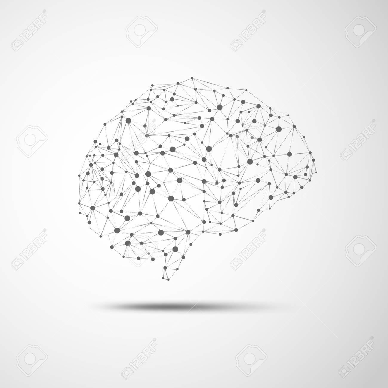 wireframe brain in scientific theme - 84038903