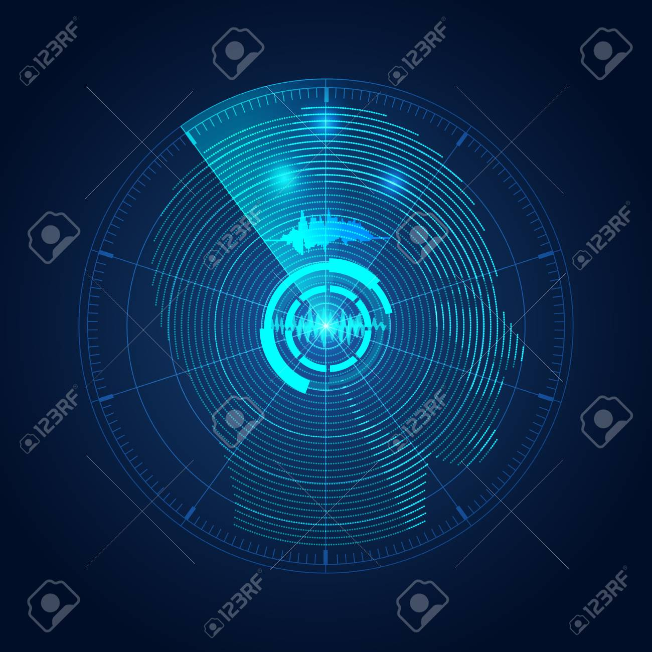 concept of mind control, radar screen searching for brain signal - 83963674