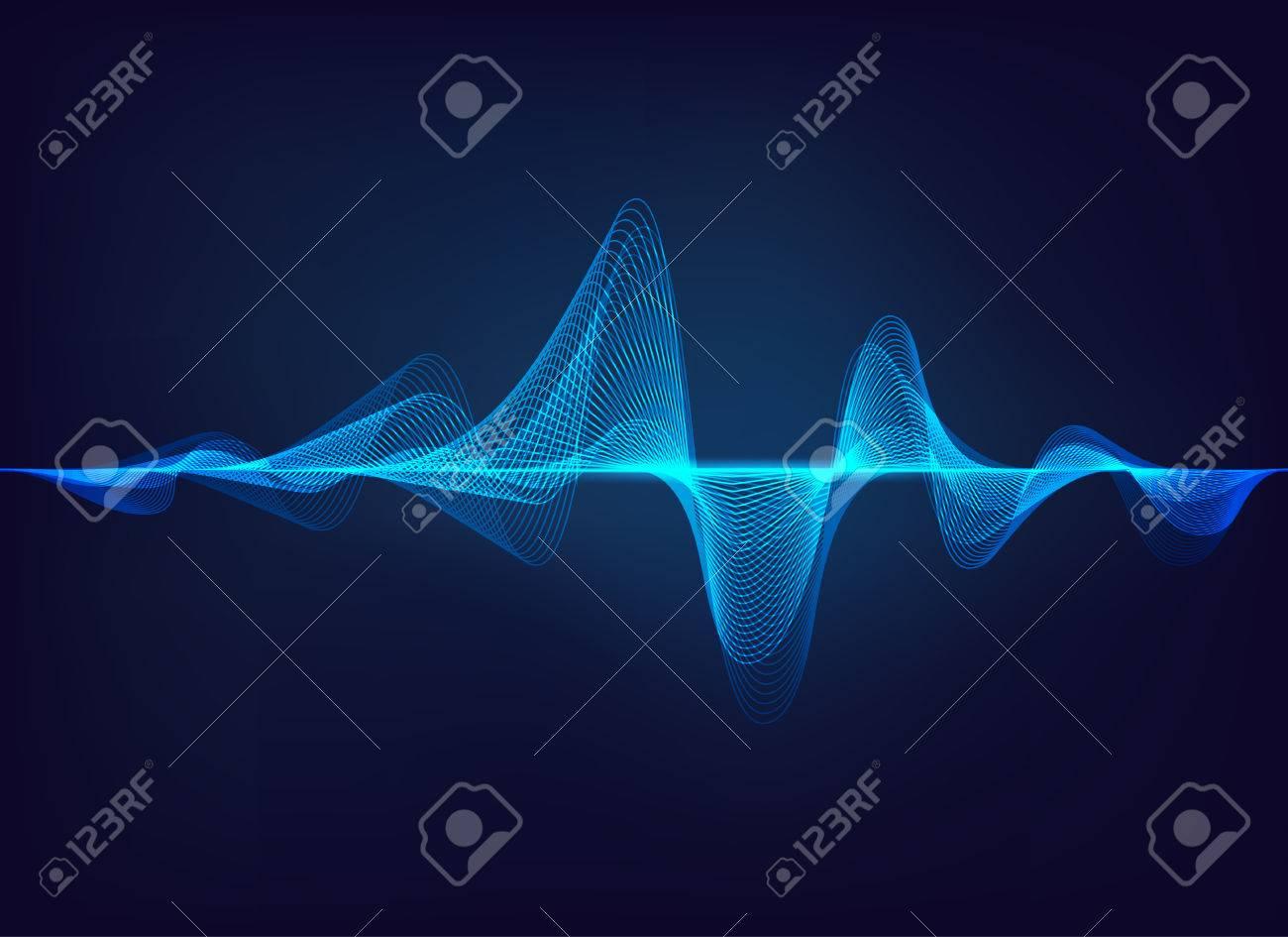 abstract digital green blue equalizer, sound wave pattern element - 86617075