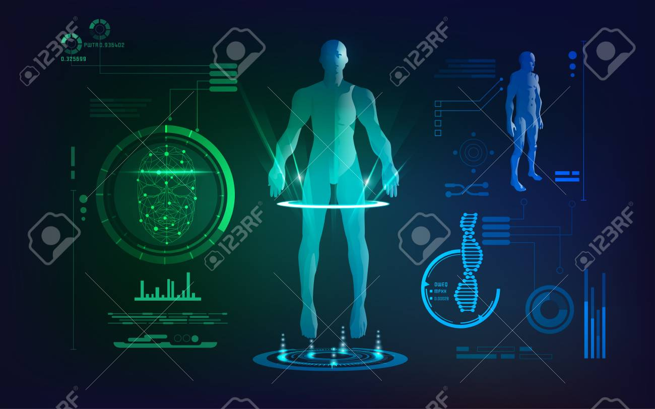 Concept of face scanning and healthcare technology scientific concept of face scanning and healthcare technology scientific interface of identity check digital blueprint malvernweather Images