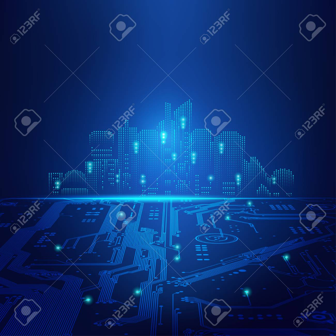 abstract futuristic background; digital building in a matrix style; technological city combined with electronic board - 88844803