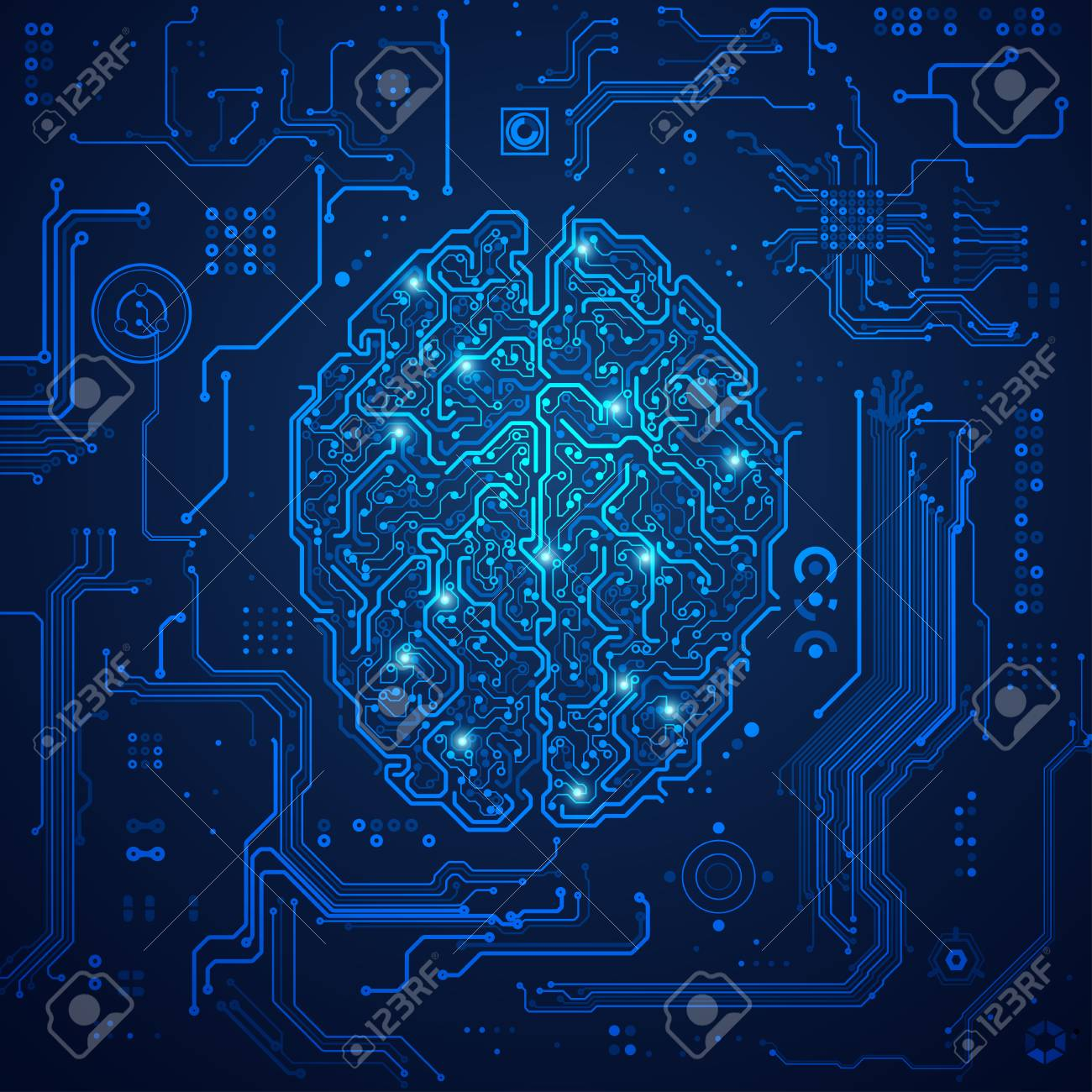 graphic of a brain in technological look; concept of technology advancement; digital blueprint of brain - 95891463