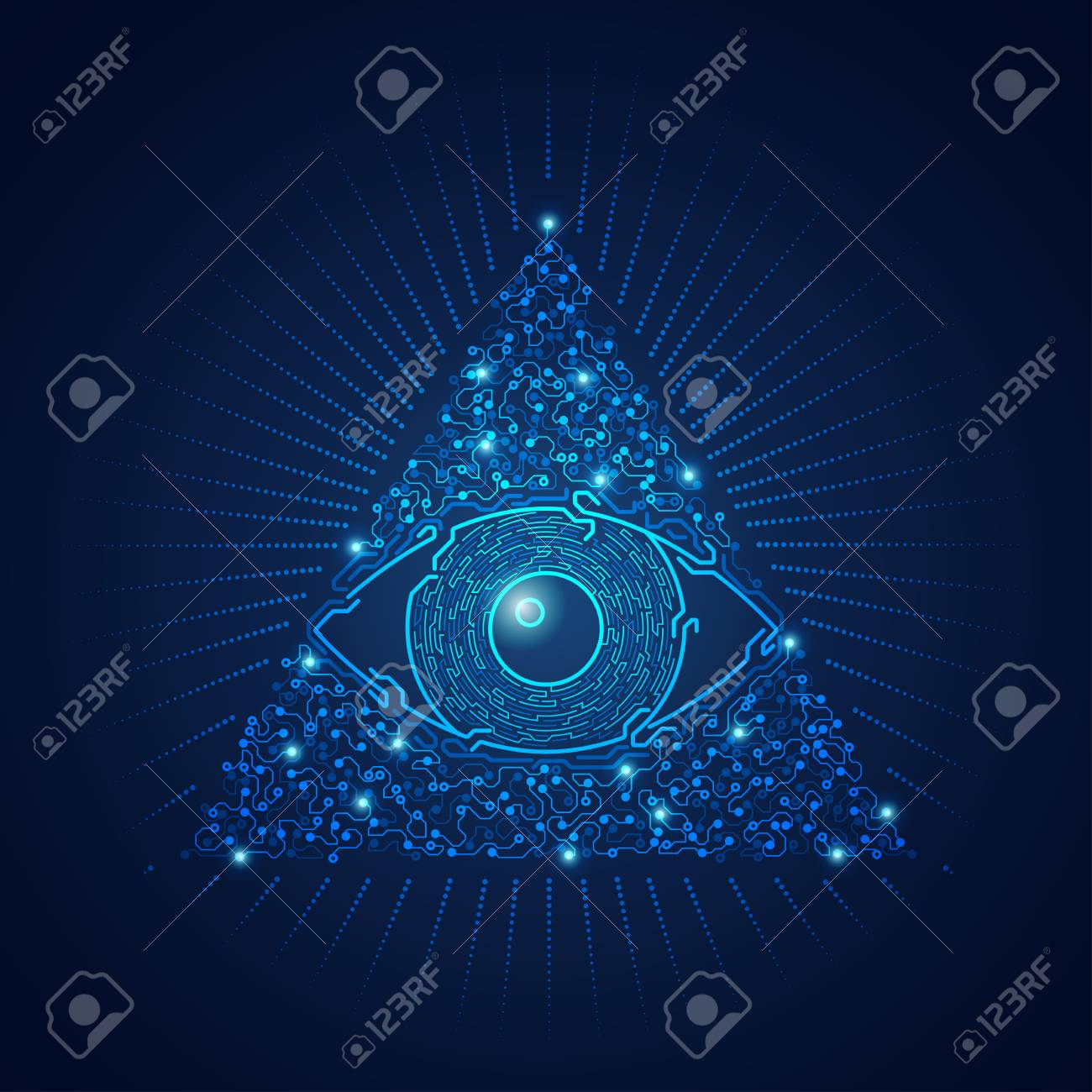 graphic of triangle electronical eye presented in futuristic style - 95891466
