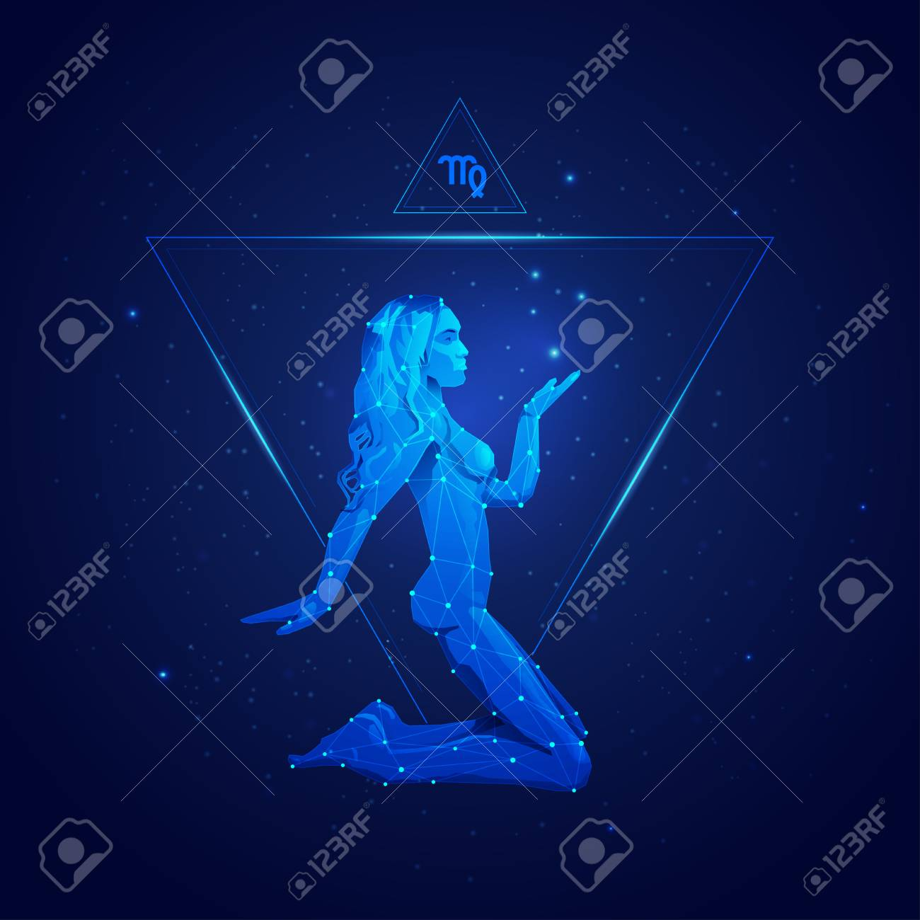 virgo horoscope sign in twelve zodiac with galaxy stars background, graphic of wireframe girl - 104610338