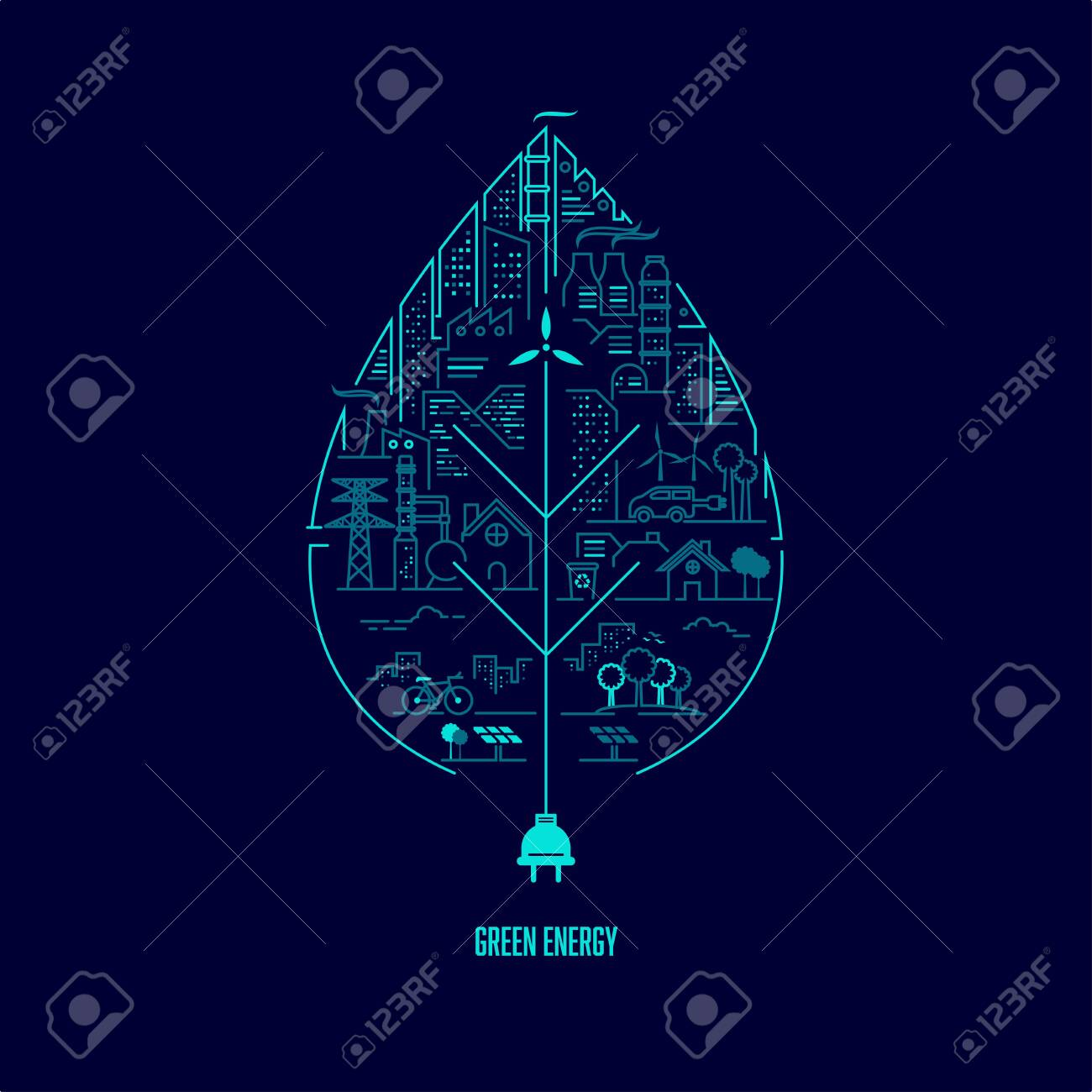 concept of green energy, a single leaf with ecology system inside presented in lined graphic with editable path - 140255923