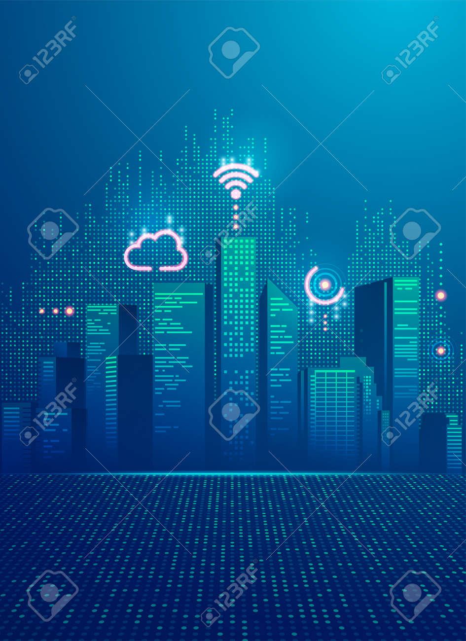 concept of smart city, graphic of buildings with digital technology element - 171348763
