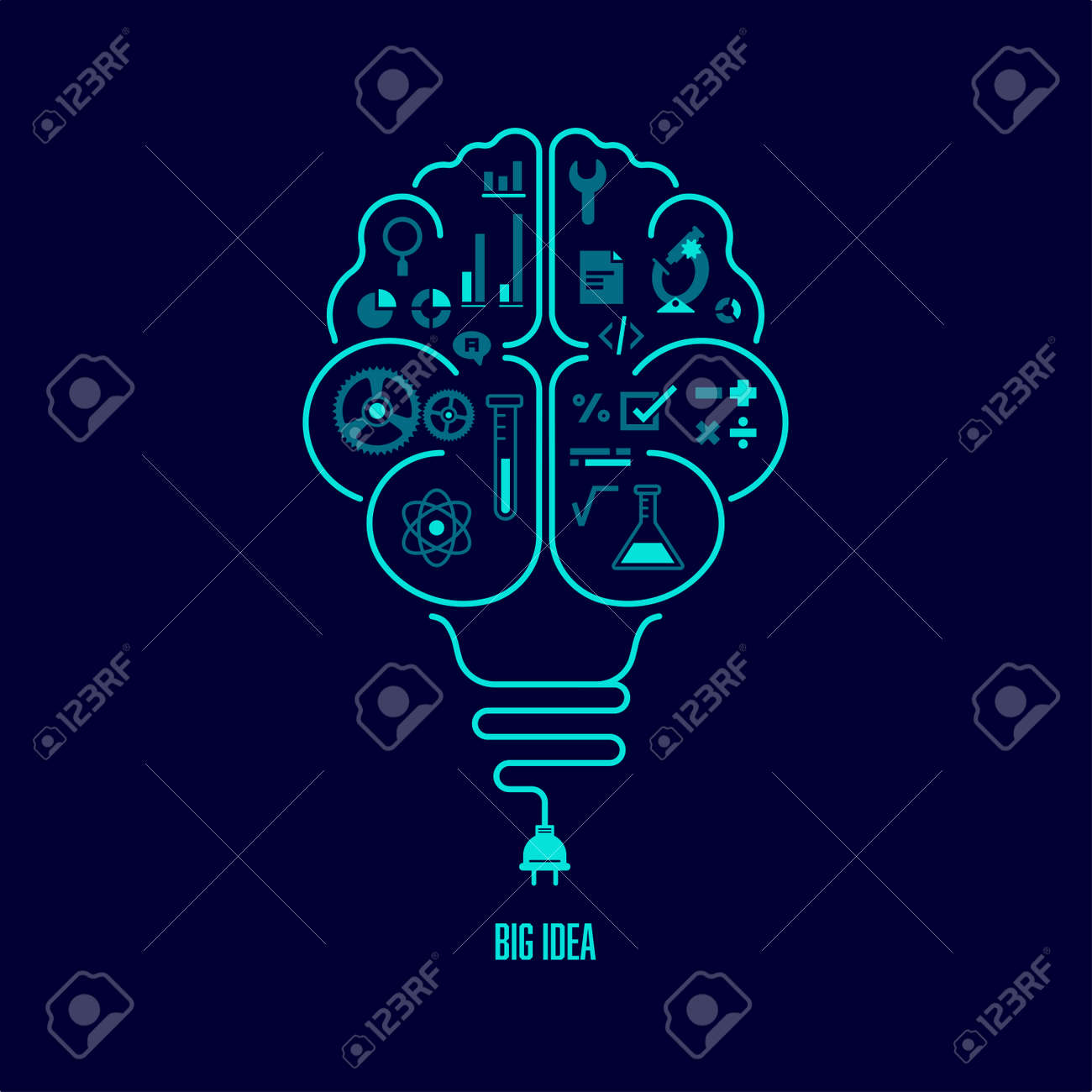 concept of big idea or creative thinking, shape of light bulb combined with human brain - 167242106