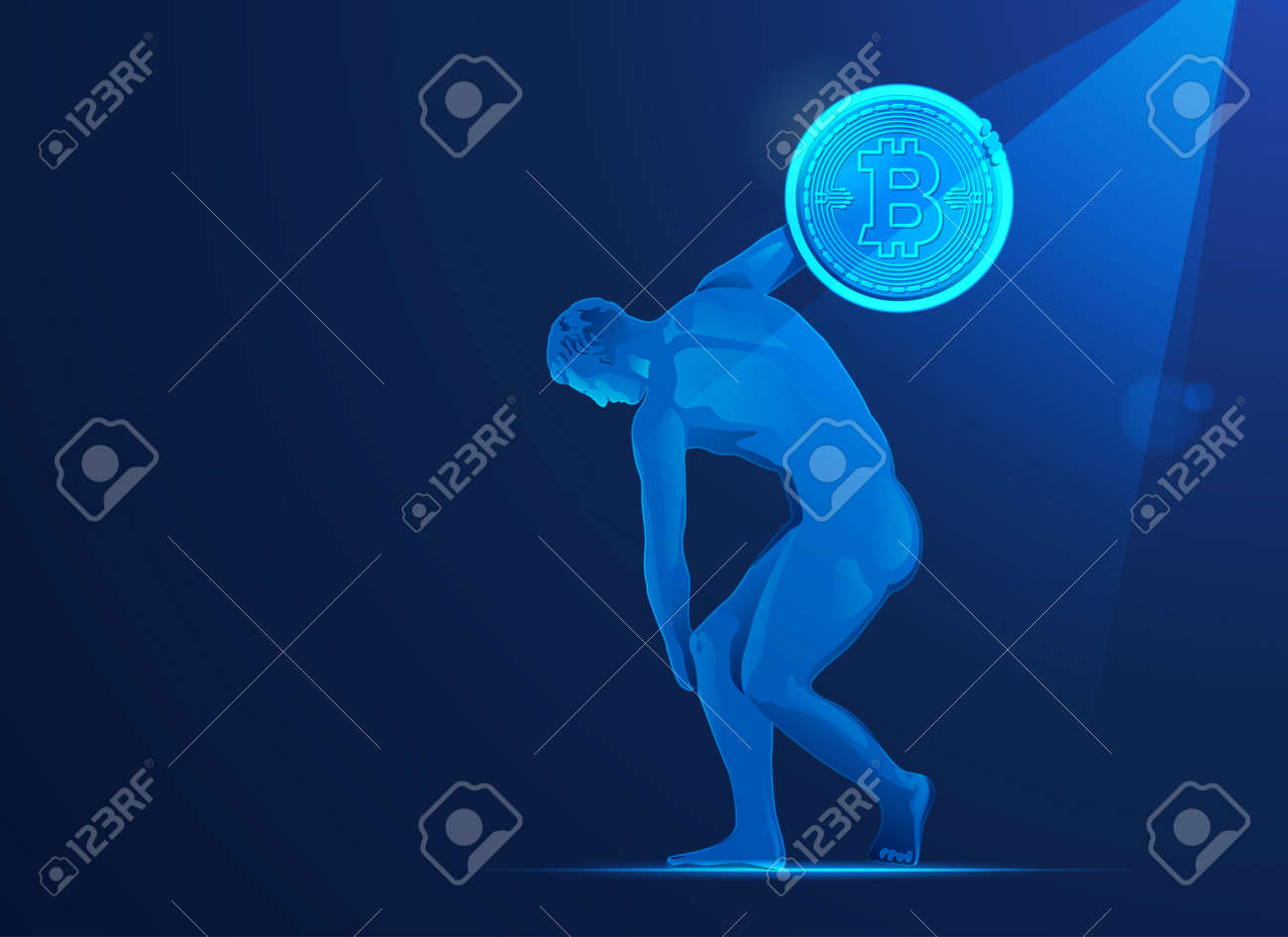 concept of bitcoin investment in Europe, graphic of Discobolus going to throw bitcoin - 170761713