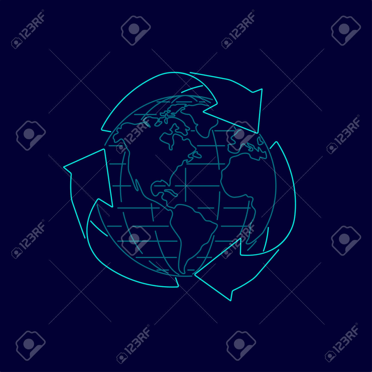 concept of eco friendly, graphic of recycle symbol with globe - 171494739