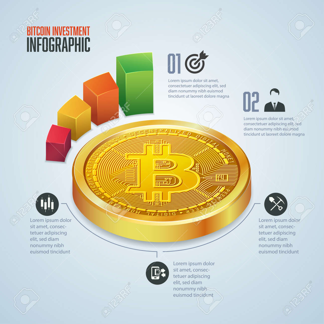infographic of cryptocurrency invesment, graphic of golden bitcoin in perpective view with financial icons - 171094610
