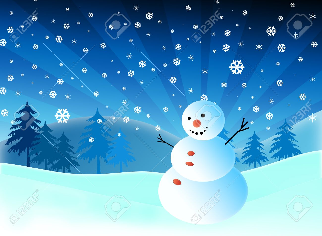cartoon snowman on snow blue background stock photo picture and rh 123rf com snow cartoon images snow white cartoon pictures