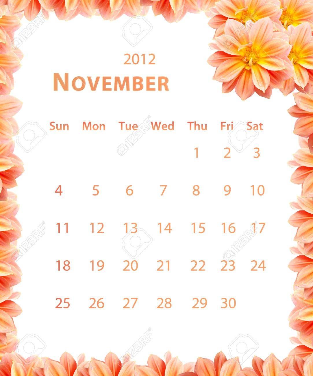 2012 Año Calendario, Noviembre Con Un Diseño Marco De La Flor Fotos ...