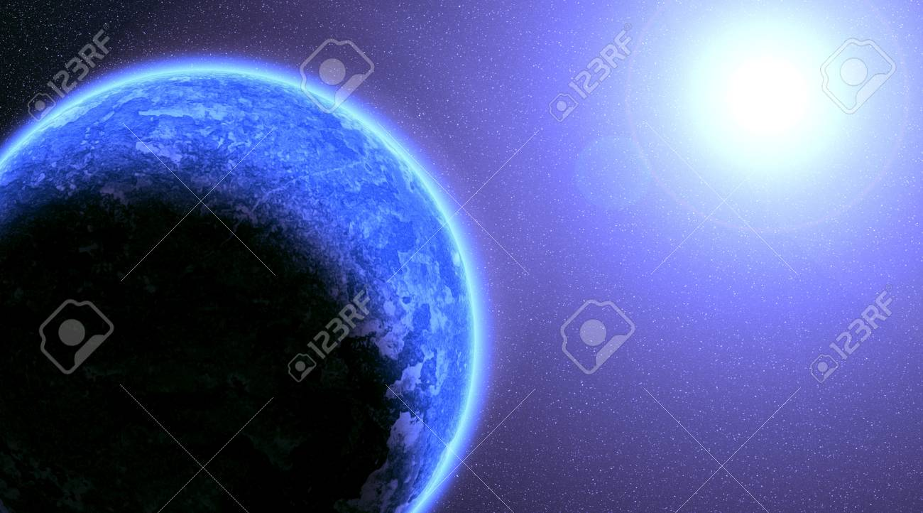 Blue planet in beautiful space Stock Photo - 11938682