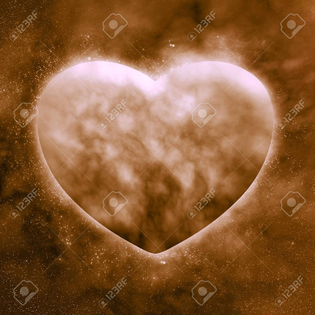 Concept ,Planet of the heart in beautiful space Stock Photo - 12354223