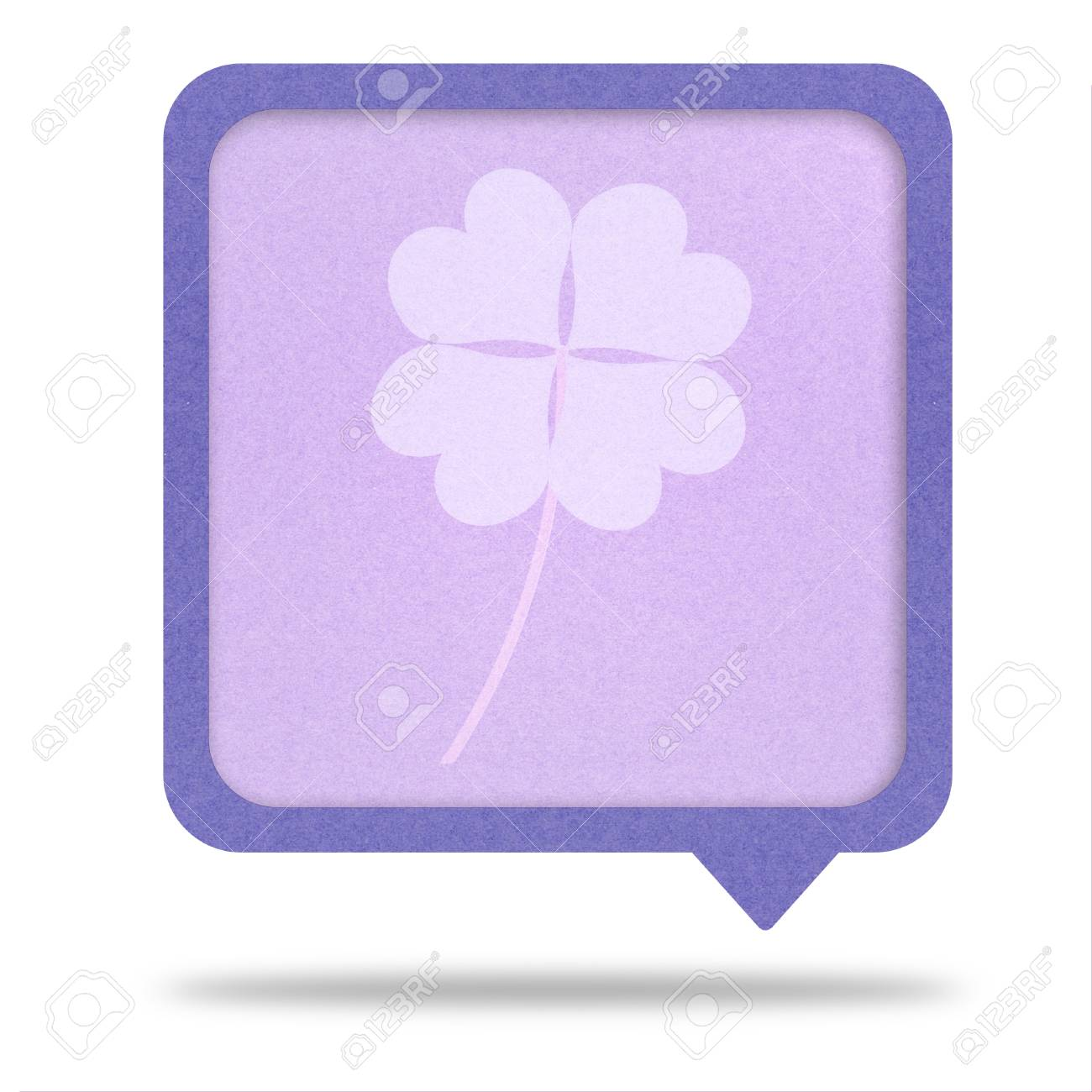 clover with four leaves on recycle paper talk tag Stock Photo - 12354067