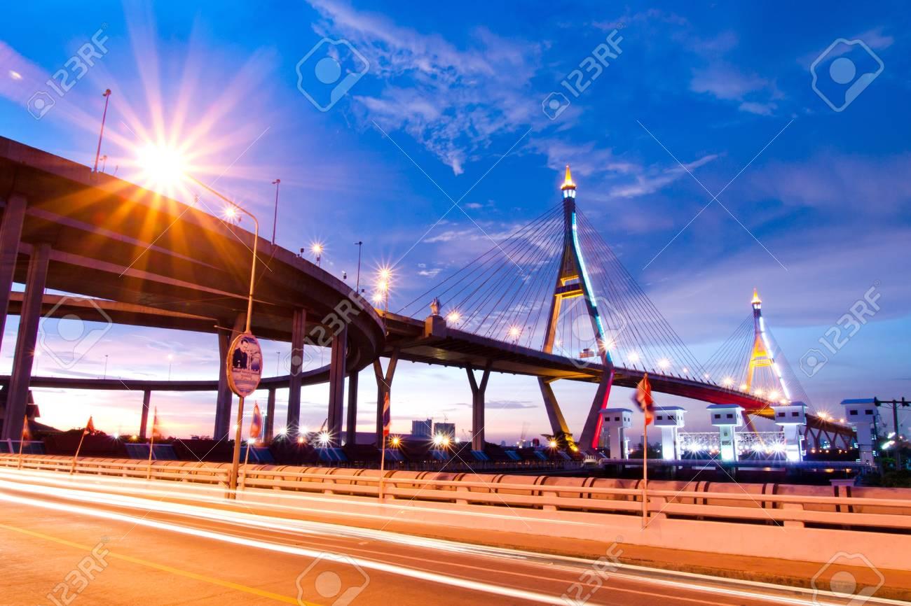 Bhumibol Bridge, The Industrial Ring Road Bridge in Bangkok  Long Exposure at night  public transportation bridge no trademark Stock Photo - 13830241